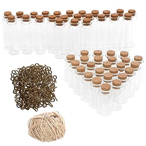 Kurtzy Mini Botella Vidrio con Tapones de Corcho, Tornillo de Ojo y Cordel (Pack de 50) Frascos de Vidrio de 9 ml y 18 ml - Mini Tarros para Regalitos de Bodas/Adornos, Mensajes en Botella