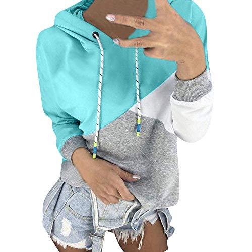 MIRRAY Damen Herbst Langarm Patchwork Kapuzenpullover Sweatshirt Pullover Tops Bluse