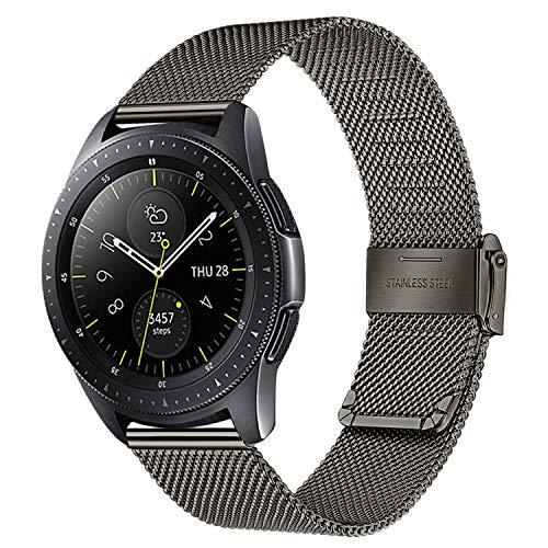 TRUMiRR Ersatz für Samsung Galaxy Watch 42 mm/Galaxy Watch Active/Gear Sport Armband, 20mm Mesh Gewebt Edelstahl Uhrenarmband Metall Schnellwechsel Armband für Garmin Vivoactive 3/3 Music