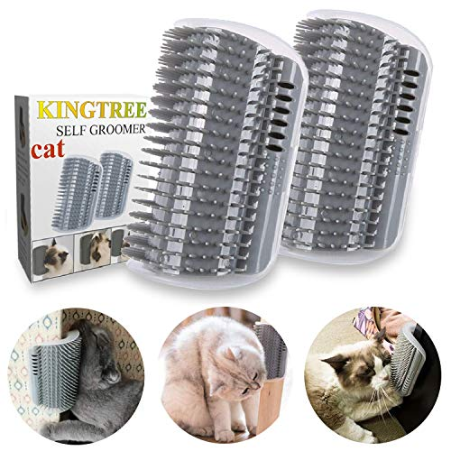Kingtree Soft Wall Corner Cat Self Groomer With Massaging Combs And Grooming Brush