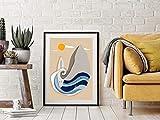 Balena blu e balena gialla stampe, poster di balene astratte, opere d'arte di poster nautici,...