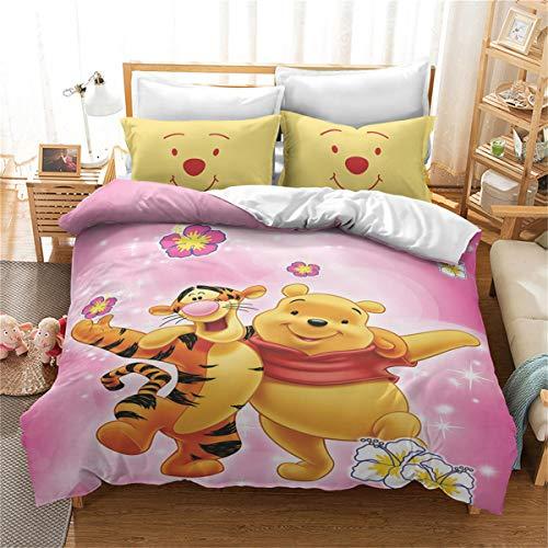 Goplnma - Juego de ropa de cama Disney Winnie The Pooh Bear de microfibra, impresión digital 3D, multicolor (220 × 260 cm, 14)