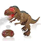 Ferngesteuerte Dinosaurier Spielzeug T-Rex für Kinder - RC Dinosaurier Elektrospielzeug mit LED Leuchten Augen, Gehen und Brüllen, Sprühen Realistische Roboter Geschenk für Jungen Mädchen Kinder