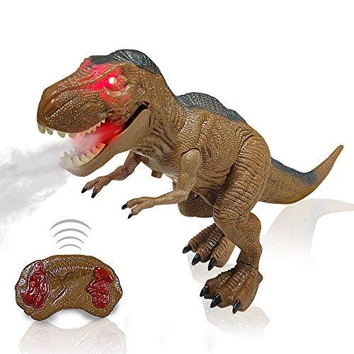 Ferngesteuertes Dinosaurier Spielzeug Elektrospielzeug für Kinder - RC Elektronik T-REX Dinosaurierspielzeug mit Leuchtenden Augen, Gehen, Brüllen, Sprühen, Roboterspielzeug für Jungen Mädchen Kinder
