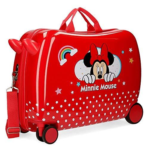 Disney Minnie Rainbow Maleta Infantil Rojo 50x38x20 cms Rígida ABS Cierre combinación 34L 2,1Kgs 4 Ruedas Equipaje de Mano
