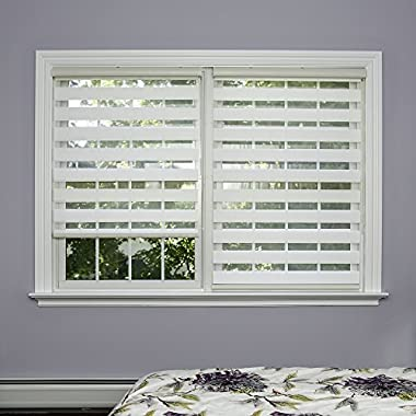Best Home Fashion Premium Duo Wood Look Roller Window Shade - White - 31 W x 64 L