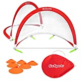 GoSports Portable Pop Up Soccer Goals for Backyard - Kids & Adults - Set of 2 Nets with Agility Training Cones and Carrying Case (Choose from 2.5', 4' and 6' Sizes), Red/White (PUG-2-01)