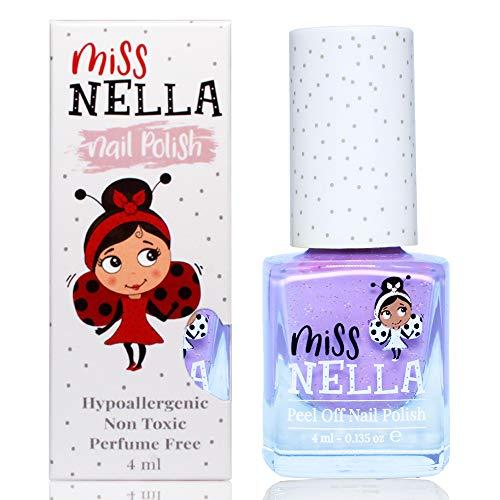 Miss Nella BUTTERFLY WINGS abziehbarer Nagellack speziell für Kinder, Lila Glitzer, Peel-Off-Formel, ungiftig, wasserbasiert und geruchsneutral