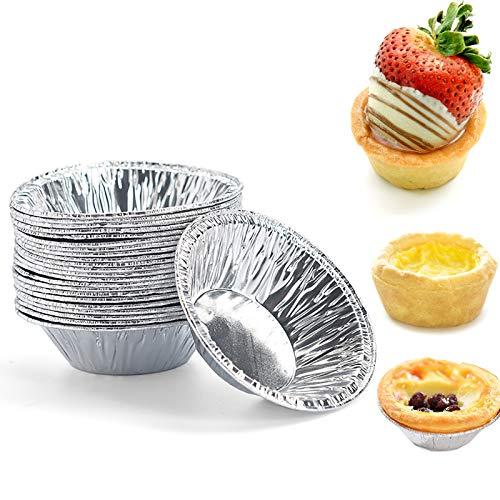 50 Pcs Small Mini Aluminum Tart Pans, Disposable Aluminum Foil Mini Tart/Pie Pans, Pie Pan Portuguese Tart Baking Mold Mini Tart, Pie Tins for Baking Supplies