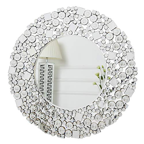 RICHTOP - Espejo de Pared Grande con Marco de Cristal Mosaico Biselado, Redondo Purpurina Plateado Decorativo Espejo Sala de Estar, salón