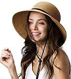Womens Wide Brim Sun Hat with Wind Lanyard UPF Summer...