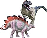 Jurassic Dinosaur Toys Allosaurus and Stegosaurus Set, Dinosaur Toys for Boys and Girls; Birthday, Xmas and New Year Dinosaur Figurine Gift for Kids Ages 3 Years Old & Up