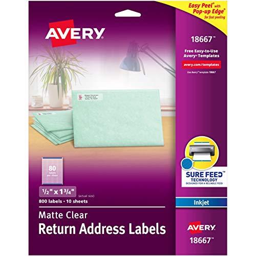 "Avery Matte Clear Return Address Labels, Sure Feed Technology, Inkjet, 1/2"" x 1-3/4"", 800 Labels (18667)"