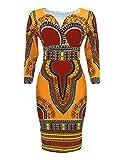 Yiqi Vestido Corto Mujer Tradicional de Impresión de Manga 3/4 Dashiki Africana Mini Vestido de Fiesta (Dorado, Asia M)