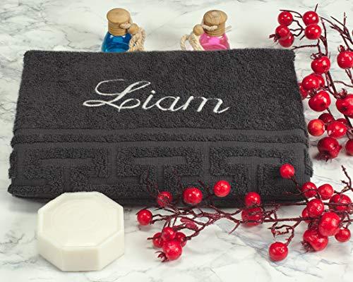 AngelicArt Personalisiertes Handtuch mit Namen, bestickte Handtücher (Dunkelgrau, 50 x 100 cm)