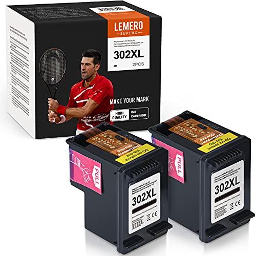 LEMERO SUPERX 302XL Kompatibel für HP 302 XL Tintenpatronen für HP DeskJet 1110 2130 2134 3630 3632 3634 Envy 4520 4521 4522 4523 4524 Officejet 3830 3834 4650 4651 4652 4654 Drucker,(2xSchwarz