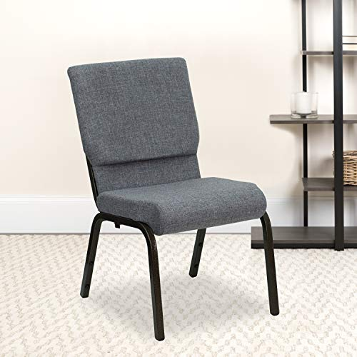 Flash Furniture 4 Pack HERCULES Series 18.5''W Stacking Church Chair in Gray Fabric - Gold Vein Frame