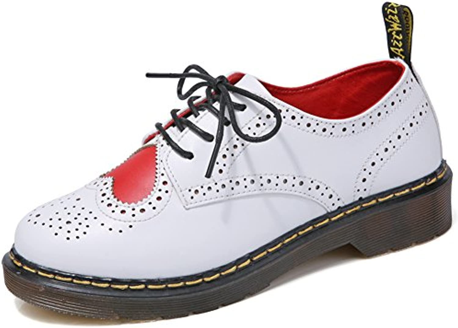 Jamron Womens Stylish Casual Derby Lace-ups Comfort White Faux Leather Brogues