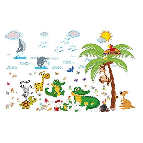 Winhappyhome Animale Paradise Coconut Trees Mur Art Stickers pour Les Enfants Chambre Nursery Salon Café FenêTre Fond Stickers DéCor Amovibles