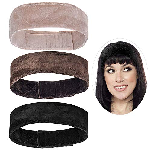 3pcs Velvet Wig Grip Headband Comfort Head Hair Band For Women Elastic Adjustable Hair Fasterner Gift for Mothers - Non Slip, Keeps Wig Secured Prevents Headaches & Hair Loss, Cream + Brown + Black