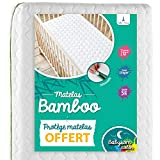 Babysom - Colchón Cuna Bebé Bambú + 1 Protector de colchón impermeable DE REGALO - Natural - 70x140 cm - Antiasfixia - Transpirable - Reglaje Térmico