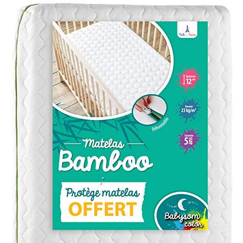 Babysom - Colchón Cuna Bebé Bambú + 1 Protector de colchón impermeable DE REGALO - 60 x 120 cm - Natural - Antiasfixia - Transpirable - Reglaje Térmico