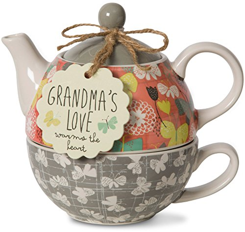 Grandma's Love Warms the Heart Teapot Set for 1