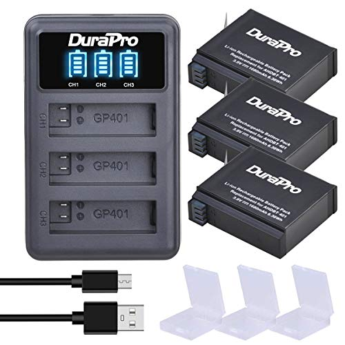 DuraPro 3X 1680mAh Akku + USB LED 3-Kana Ladegerät für GoPro Hero4 Hero 4 Akku AHDBT-401 Action Kamera