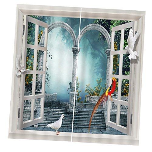 2er Pack Fotogardine Fotovorhang Vorhang Gardinen 3D Fotodruck Für Fenster - 6#