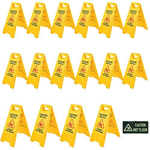 Mophorn Señal Seguridad Precaución Suelo Resbaladizo Cuando Está Mojado de Doble Cara Amarillo 16 PCS