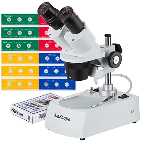 AmScope SE305R-P-LED-PS36A 10X-30X LED Cordless Stereo Microscope w/Top & Bottom Light Illumination System and 36 specimens