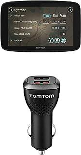 TomTom GO Professional 620 LKW Navigationsgerät (Updates über Wi Fi, 15,2 cm (6 Zoll), Smartphone Benachrichtigungen) + Duales USB Auto Schnellladegerät (geeignet für alle TomTom Navigationsgeräte)