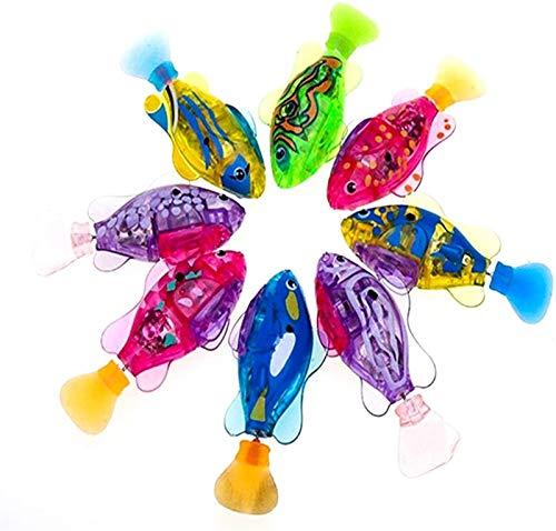 Hwljxn 4 STÜCKE Schwimmen Roboter Fisch, elektrische Schwimmen Fisch Wasser Aktiviert Roboter Schwimmen Haustier Fisch Kinder Kinder Bad Spielzeug Geschenk mit Knopf Batterie, licht transparente elekt