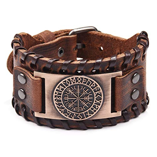 bansd European Viking Pirate Bracelet Vintage Compass Men'S Wide Leather Bracelet Ancient Red Copper
