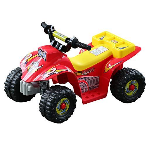 HOMCOM Quad Bateria 6V Moto Eléctrica Infantil Niños +18 Meses Velocidad 2'5 Km/h Carga Máx 20 Kg Sonido Luces Cargador Incluido