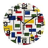 AMONKA Reloj de pared retro Bauhaus, con fondo redondo, acrílico, silencioso, para decoración del hogar, sala de estar, cocina, dormitorio, oficina, escuela, etc.