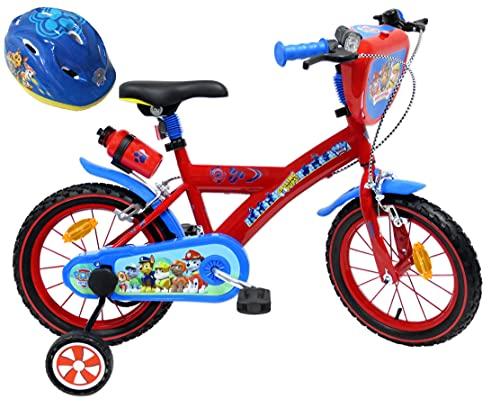 """EDEN-BIKES VELO 14"""" GARCON PAT PATROUILLE 2 FREINS PB/BIDON AR + CASQUE Vélo enfants, Multicolore, 14''"""
