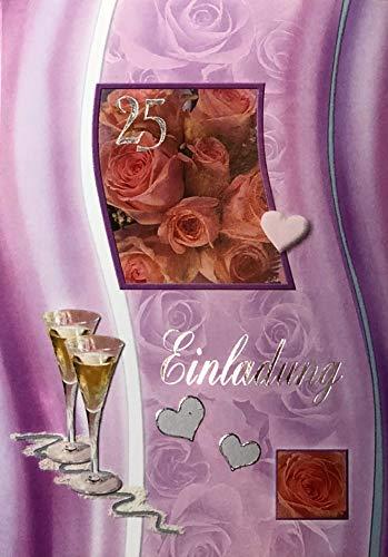 Einladungskarten silberne Hochzeit mit Innentext Motiv Silberhochzeit Rosen Sekt 10 Klappkarten DIN A6 im Hochformat mit weißen Umschlägen im Set Einladung Silberhochzeit 25 Jahre verheiratet K156