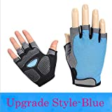 Fitness Outdoor Cycling Bicycle Mountain Bike Hiking Mountaineering Breathable Non-Slip Half-Finger Riding Gloves,Upgrade Blue,L