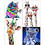 DIY Diamond Painting, 5D Shiny Resin Rhinestone and Beautiful Canvas Pattern as Gifts for Adults and Kids, Handmade Art Diamond Drawing for Home and Shop Wall Decoration (4in1 Cat-Tiger-Giraffe)