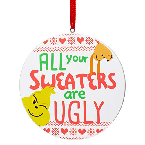 Department 56 Dr. Seuss The Grinch Ugly Sweater Hanging Ornament, 3.125 Inch, Multicolor