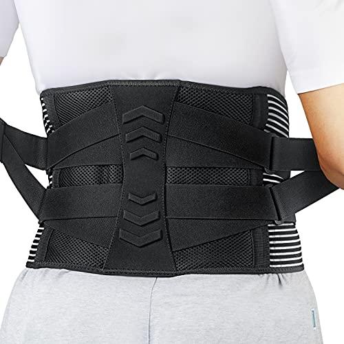 AGPTEK Faja Lumbar para Espalda, Cinturón de Soporte Lumbar Aliviar Dolor y Lesiones, Ciática, Faja Lumbar Deportiva para Hombre y Mujer, Negro(Talla L)