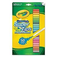 Crayola 585050 Washable Super Tips Markers, Assorted, 50/Set