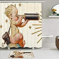 WOTAKA シャワーカーテン バスマット 2点セット グローブに座っている望遠鏡の裸の赤ちゃん 自家 寮用 ホテル 間仕切り 浴室 バスルーム 風呂カーテン 足ふきマット 遮光 防水 おしゃれ 12個リング付き