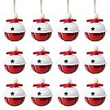 Naler 12 Campanas de Navidad Decoración Cascabeles Rojos Bl