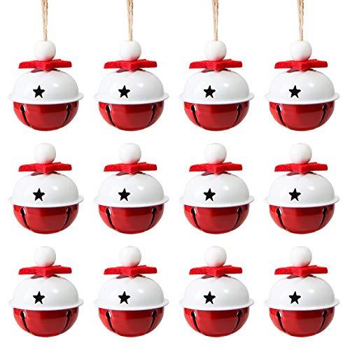 Naler 12 Campanas de Navidad Decoración Cascabeles Rojos Blancos para Boda Fiesta Cumpleaños (4cm)