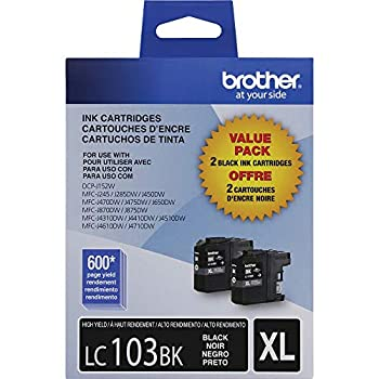 Brother Genuine High Yield Black Ink Cartridges LC1032PKS Replacement Black Ink Includes 2 Cartridges of Black Ink Page Yield Up To 600 Pages/Cartridge LC1032PKS