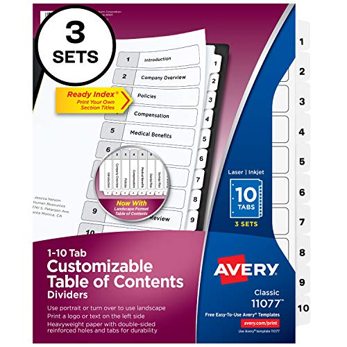 Avery 10-Tab Dividers for 3-ring Binders, Customizable Table of Contents, Classic White Tabs, 1 Set (11077)