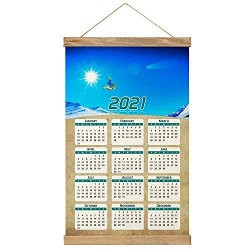 France Ski Meribel Wall Calendar 2021 12 months Canvas Wood 20.4' x 13.1' (GL-France-2080)