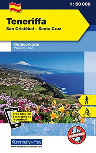 Teneriffa San Cristobal - Santa Cruz: Outdoorkarte Spanien, 1:60 000 Wandern/ Rad Free Map on Smartphone included (Kümmerly+Frey Outdoorkarte International)